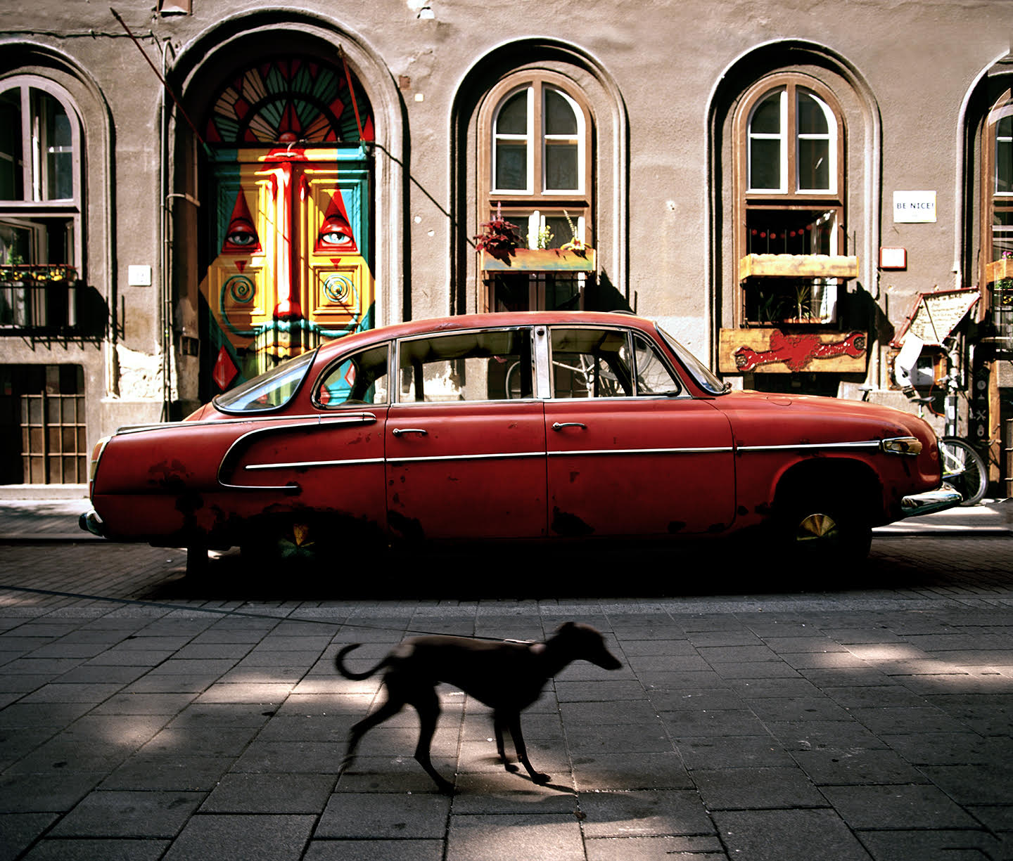 """""""So many of my favourite things are in this photo. From the wonderful styling of the vintage car, to the graffiti on the door, to the small plaque on the right reminding people to be nice. And to have a little whippet photo bombing me was the icing on the cake"""""""