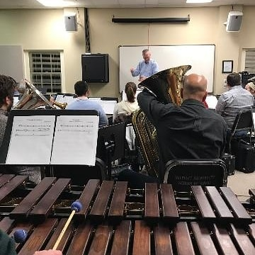 Working hard in rehearsal tonight, especially back in the percussion section! Our mallet players have a lot of notes to tackle in the Mussorgsky arrangement. 🎶 Come hear them in action on Sunday at 7pm!  #mcbe #nashville #brass #musiccity #classicalmusic #trumpet #horn #trombone #euphonium #tuba #percussion #beethoven #wagner #dukas #mussorgsky