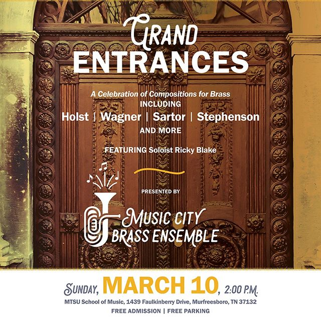 "Don't forget: we have a concert today! See you soon for ""Grand Entrances,"" featuring the music of Holst and Wagner, plus contemporary composers Sartor (a fellow Tennessean), Stephenson AND MORE. We're on at MTSU at 2pm. Details in link: http://ow.ly/baTW30nZpAP  #mcbe #nashville #brass #musiccity #classicalmusic #trumpet #horn #trombone #euphonium #tuba #percussion #do615 #freeconcert #freemusic #mtsu #murfreesboro #tennessee #local #newmusic #contemporary #wagner #holst"