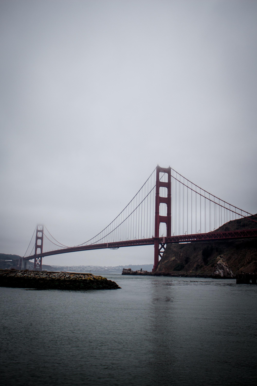 The Golden Gate Bridge at first light.
