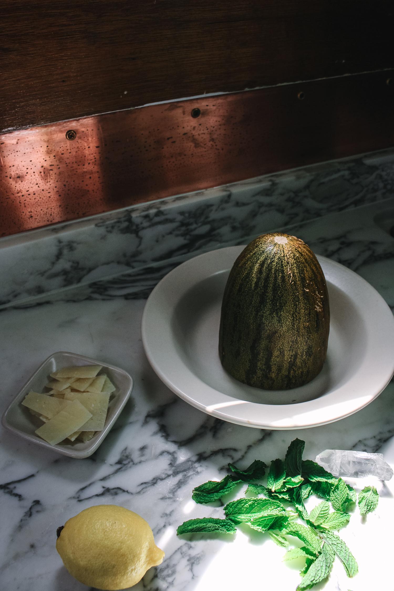 Minty Melon Manchego Salad