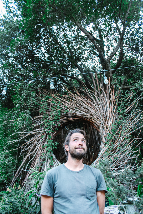 My love asked to have his photo taken in this nature crown behind Big Sur Bakery.