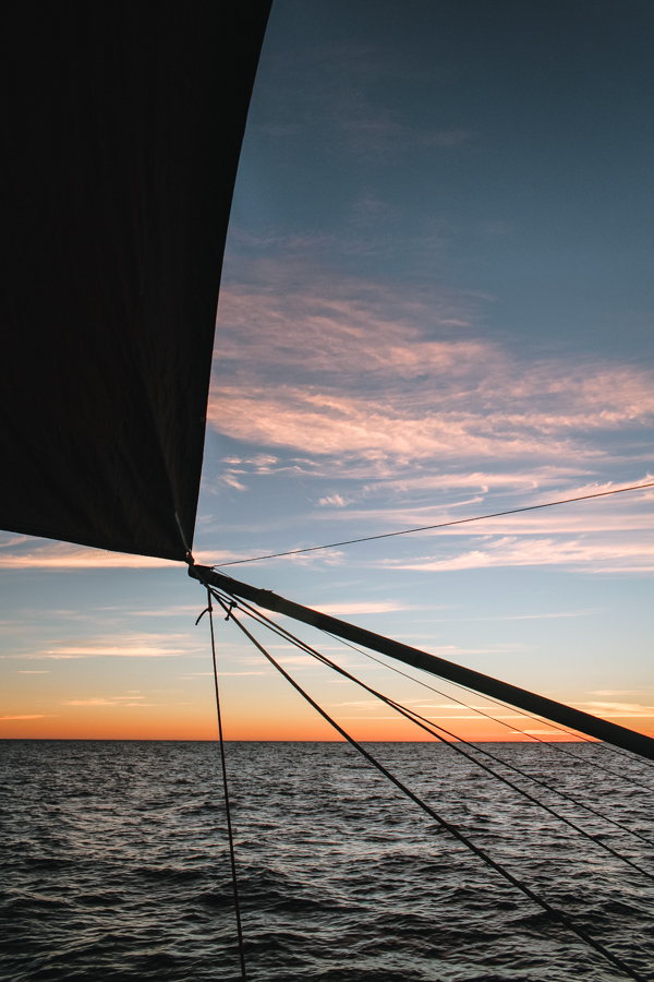 Downwind sailing in Mexico with our poled out jib.
