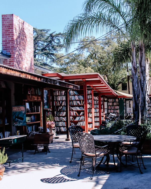 Bart's Books in Ojai is on a side street in the structure of a house - but without a roof! Can't make it before closing? Browse the 50 cent books outside 24/7 and slide your quarters through a slot in the door.