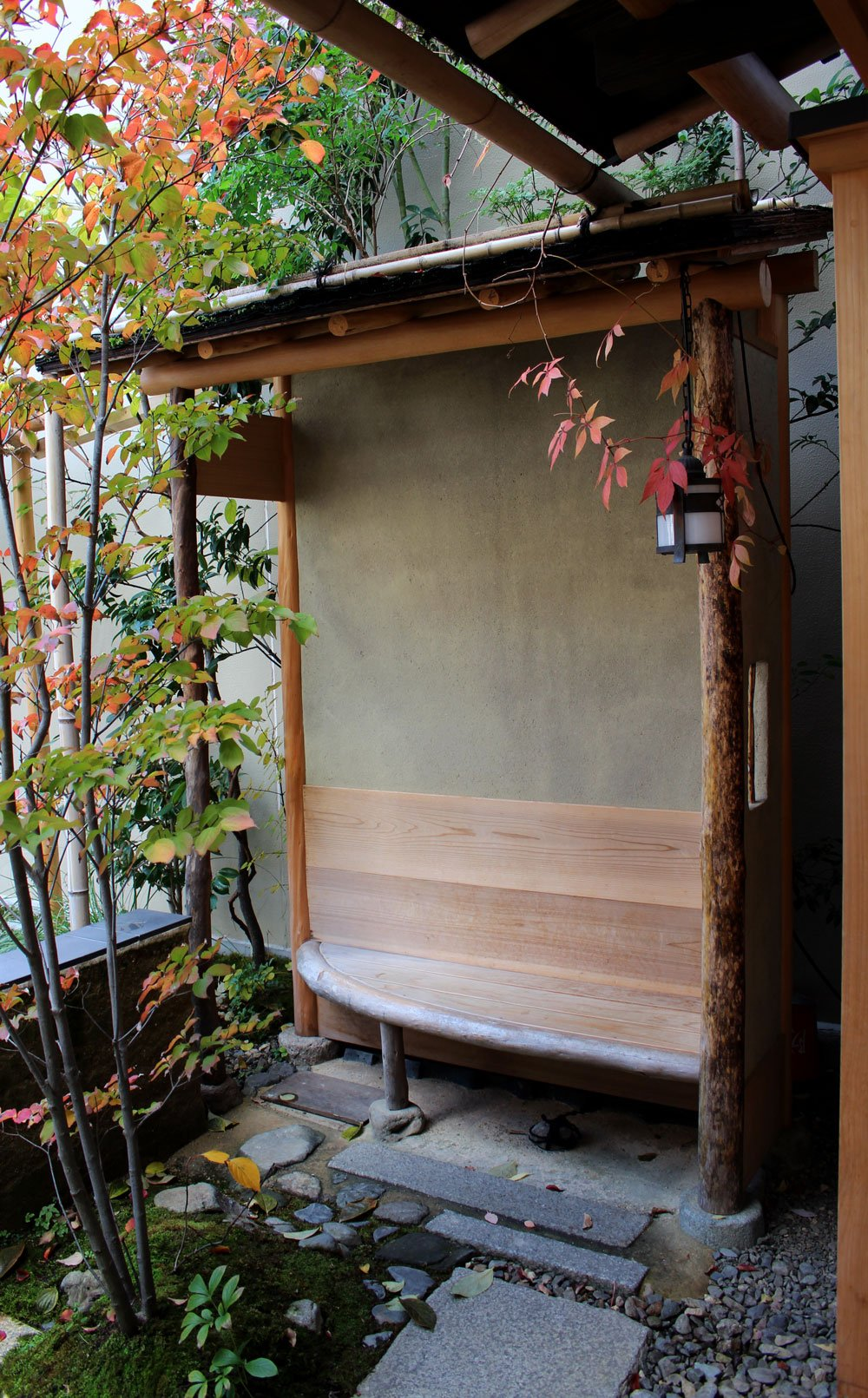 A nook for sipping coffee at Kyoto's Blue Bottle outpost.