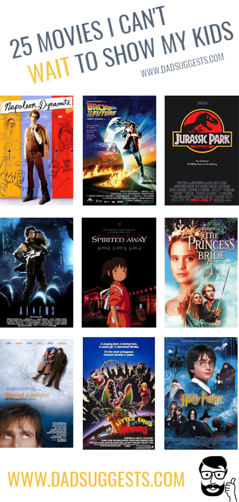 These are the movies I can't wait to share with my kids. Whether it's nostalgia or the pure artistic quality films, these movies mean a lot to me and I can't wait to pass them on. #familymovies #familymovienight #raisingkids #movienight #dadsuggests