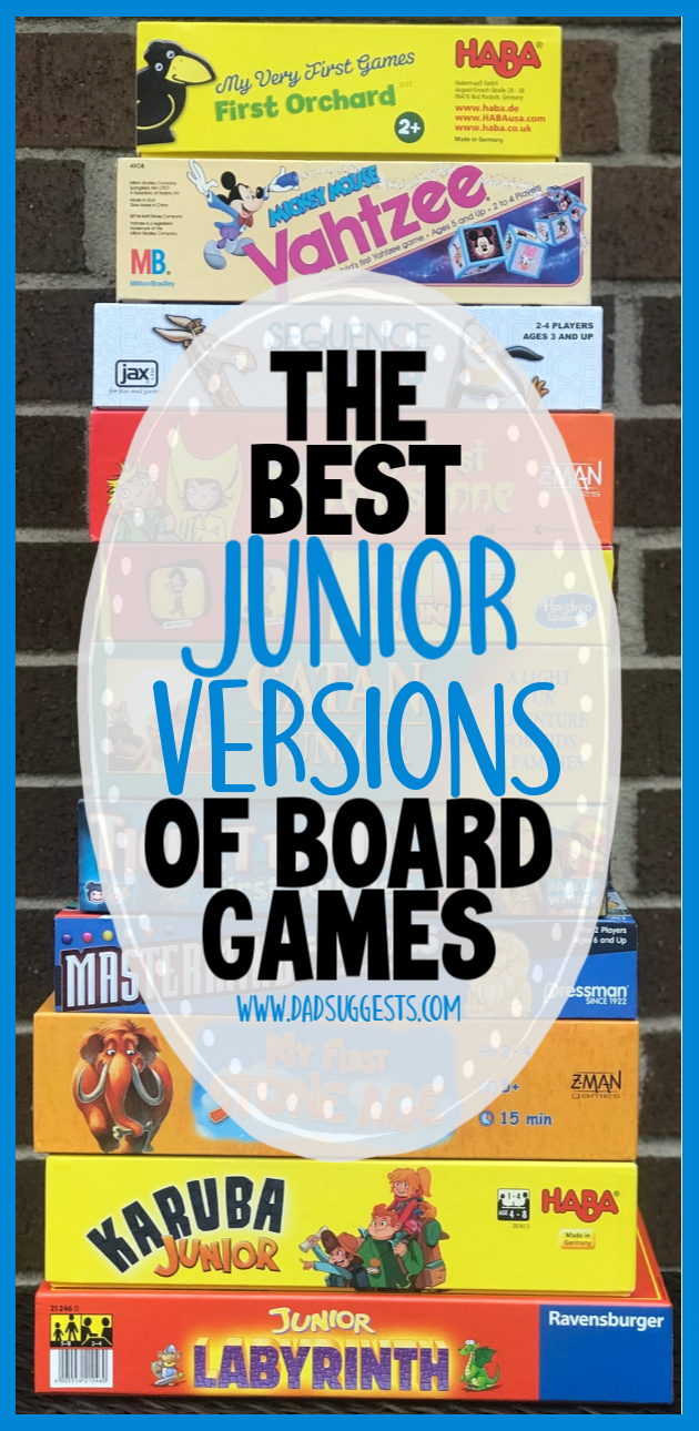The best junior versions of board games to play with your kids. Popular board games that are simplified for a younger audience.  #kidsgames #boardgames #familygamenight #familygames #dadsuggests