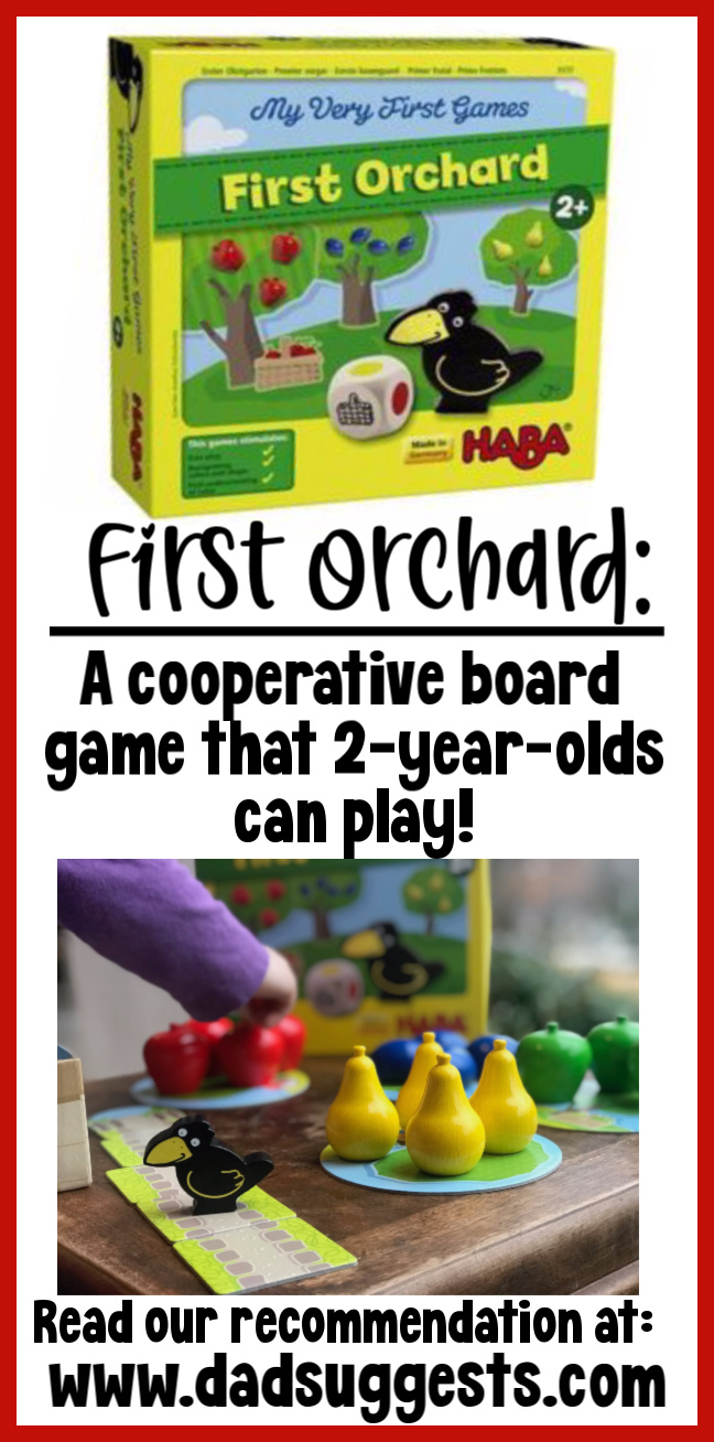 First Orchard by HABA is perhaps the very best board game to be your child's first board game. It teaches basic skills like taking turns and rolling the die - and the wooden game pieces are amazing enough to be toys by themselves. #firstorchard #familygames #boardgames #kidsgames #bestkidstoys #boardgamesfortoddlers #HABA #dadsuggests