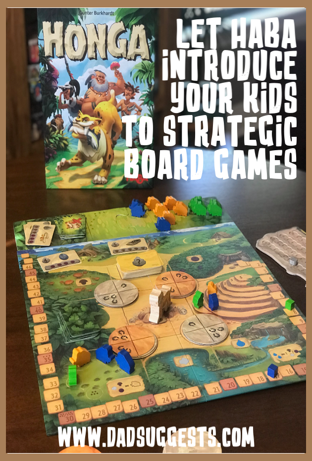 HABA has made a board game that bridges the gap between early kids games and more strategic adult board games. Honga is perfect for working on strategy and planning with your kids - and the wooden components from HABA are always top notch. #boardgames #kidsgames #familygames #familyboardgames #haba #strategygames #dadsuggests