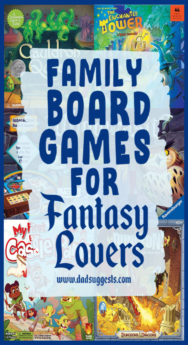 Family board games for fans of fantasy. All of these games are family favorites and feature a fantasy theme full of evil wizards, dragons, stolen princesses, swords and sorcery. #familyboardgames #familygamenight #gamenight #kidsgames #boardgames #fantasy #dadsuggests