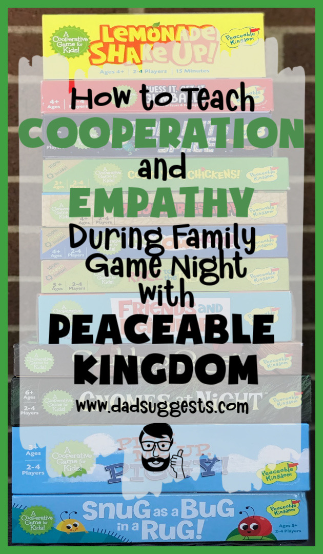 Cooperative games are our favorite board games to play with our kids - and Peaceable Kingdom is the king of cooperative board games. And, that's not all - they often teach empathy too! What more could you ask for? #peaceablekingdom #cooperativegames #familygames #kidsgames #boardgames #empathy #cooperation #familygamenight #dadsuggests