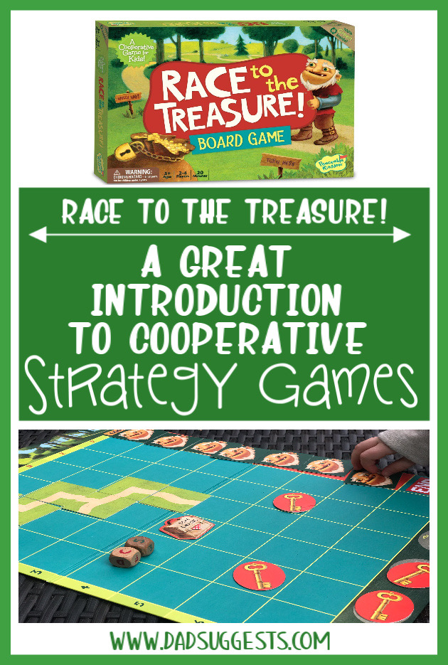 Introduce your kids to strategy games with  Race to the Treasure!  by Peaceable Kingdom. Cooperative Games are perfect for family game night and Race to the Treasure! is one of the very best. #familygames #boardgames #kidsgames #familygamenight #peaceablekingdom #cooperativegames #dadsuggests
