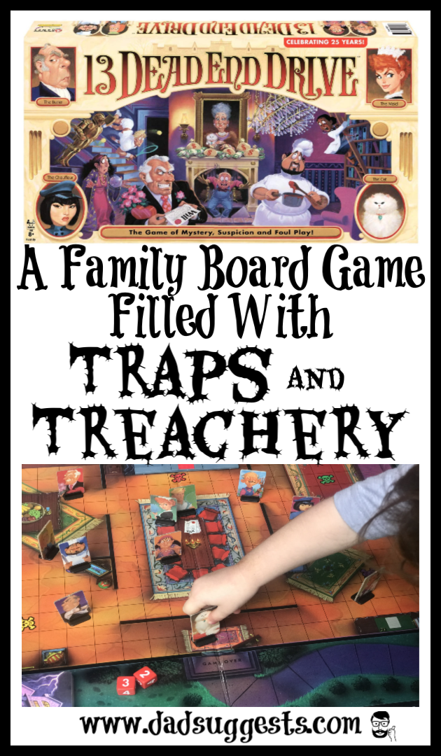 The classic family board game returns. 13 Dead End Drive is a family board game that captures the imaginations of kids with its interactive booby traps. Plenty of entertaining bluffing and pressing your luck are thrown in for good measure. Read why this is one of our favorites.  #familyboardgames #kidsgames #winningmovesgames #spookygames #boardgames #familygamenight #dadsuggests