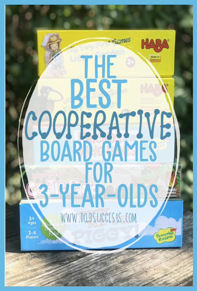 Cooperative Board Games are a great way to introduce your child to family game night - and to keep the focus of playing on having fun. These are the best cooperative board games for 3-year-olds. #boardgames #cooperativegames #kidsgames #familygamenight #toddlergames #dadsuggests