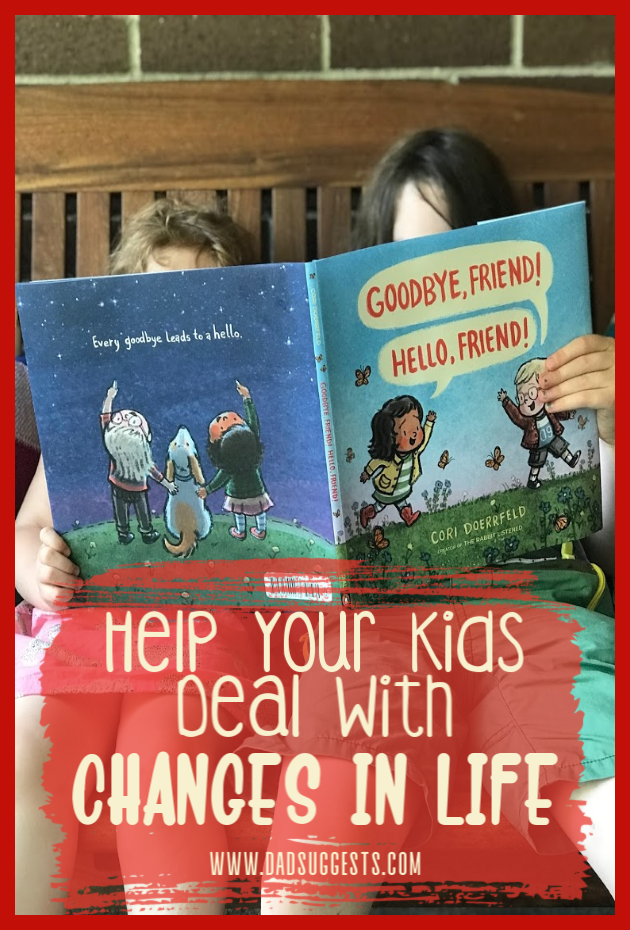 Cori Doerrfeld's  Goodbye, Friend! Hello, Friend!  is a poignant lesson about the Yin and Yang in life. Every goodbye leads to a hello. It's a beautiful book, and very useful for teaching your kids about how to deal with change and keep a positive mindset about adversity in life. #booksthatteach #picturebooks #kidsbooks #parenting #coridoerrfeld #growingup #bookswithlifelessons #dadsuggests