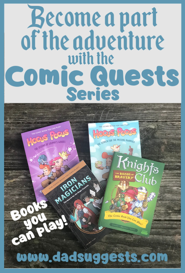 Comic Quests are the graphic novels that you can actually play. It's role-playing in a book. It's so much more than the old choose-your-own-adventure formula. In these books, your kids imaginations will come to life as they become a character and actually play the books as they read. #quirkbooks #comicquests #graphicnovels #comicbooks #kidsbooks #chooseyourownadventure #dadsuggests