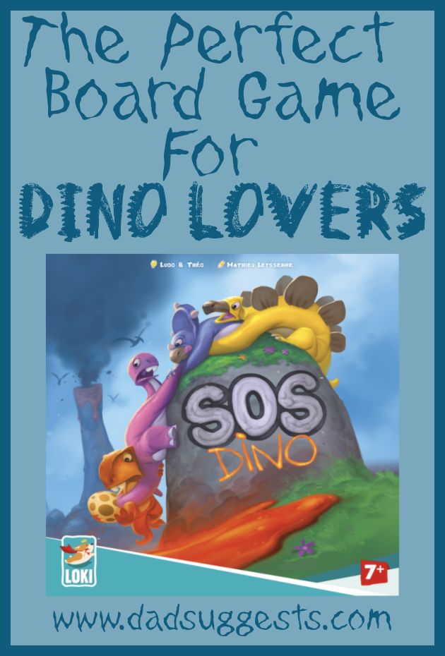 SOS Dino  by LOKI is the perfect family board game for young dinosaur lovers. Dodge falling meteorites and rivers of molten lava to save all the eggs and escape before it's too late. This is a beautiful and very engaging cooperative board game for the whole family. #dinosaurs #familyboardgames #familygamenight #SOSDino #kidsgames #dadsuggests