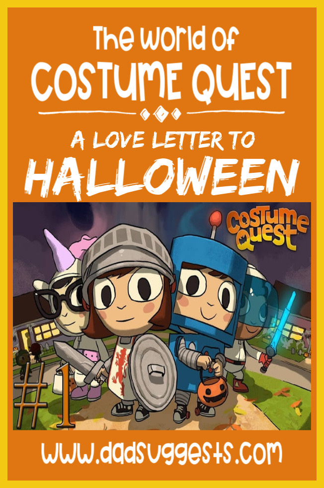 Costume Quest is the ultimate love letter to Halloween to share with your kids and family. The video games, the book, and the TV show are all enough to give you some intense Halloween nostalgia.  #halloween #familyhalloween #costumequest #halloweenbooks #halloweenshows #dadsuggests