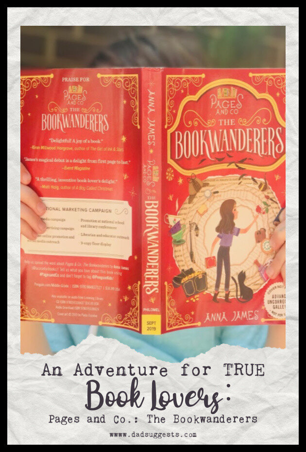Pages and Co.: The Bookwanderers  is a passionate love letter to books. This chapter book is a book lover's dream. Beloved characters from famous novels come to life, characters travel into favorite fictional worlds, and the magical, life-transforming power of storytelling is on full display. #chapterbooks #readalouds #bestbooksforkids #raisingreaders #dadsuggests
