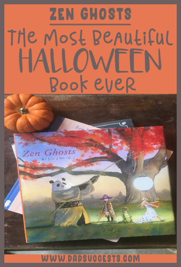 Zen Ghosts  by Jon J. Muth is the most beautiful Halloween picture book ever. In the story, Stillwater the giant panda tells a spooky, ancient tale of a young couple in love. It's spooky, gorgeous, and deeply philosophical. #halloweenbooks #zenbooks #zenghosts #jonjmuth #halloween #picturebooks #dadsuggests