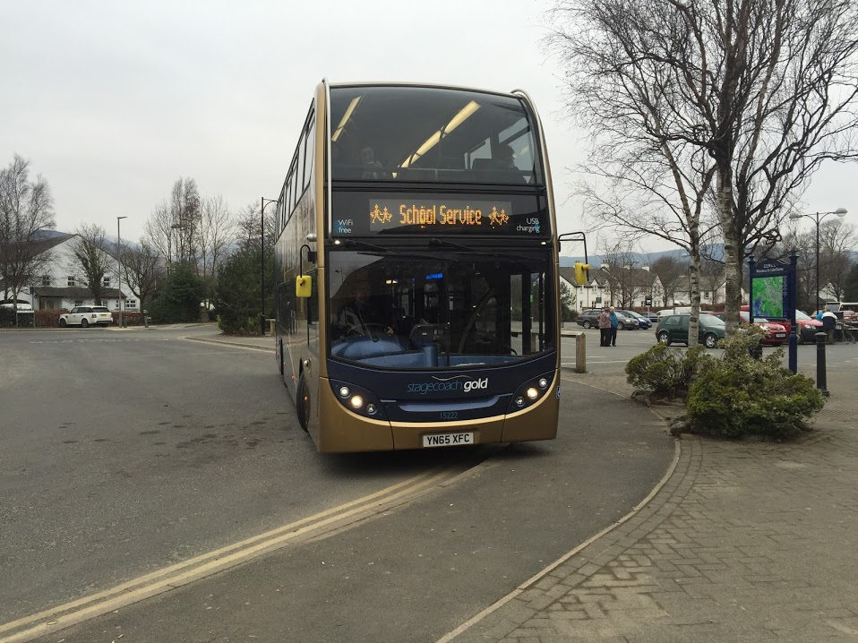 School buses are traditionally old, dirty and lacking in amenities - but this doesn't have to be the case, as this very high specification Stagecoach Gold bus seen in Keswick, Cumbria proves
