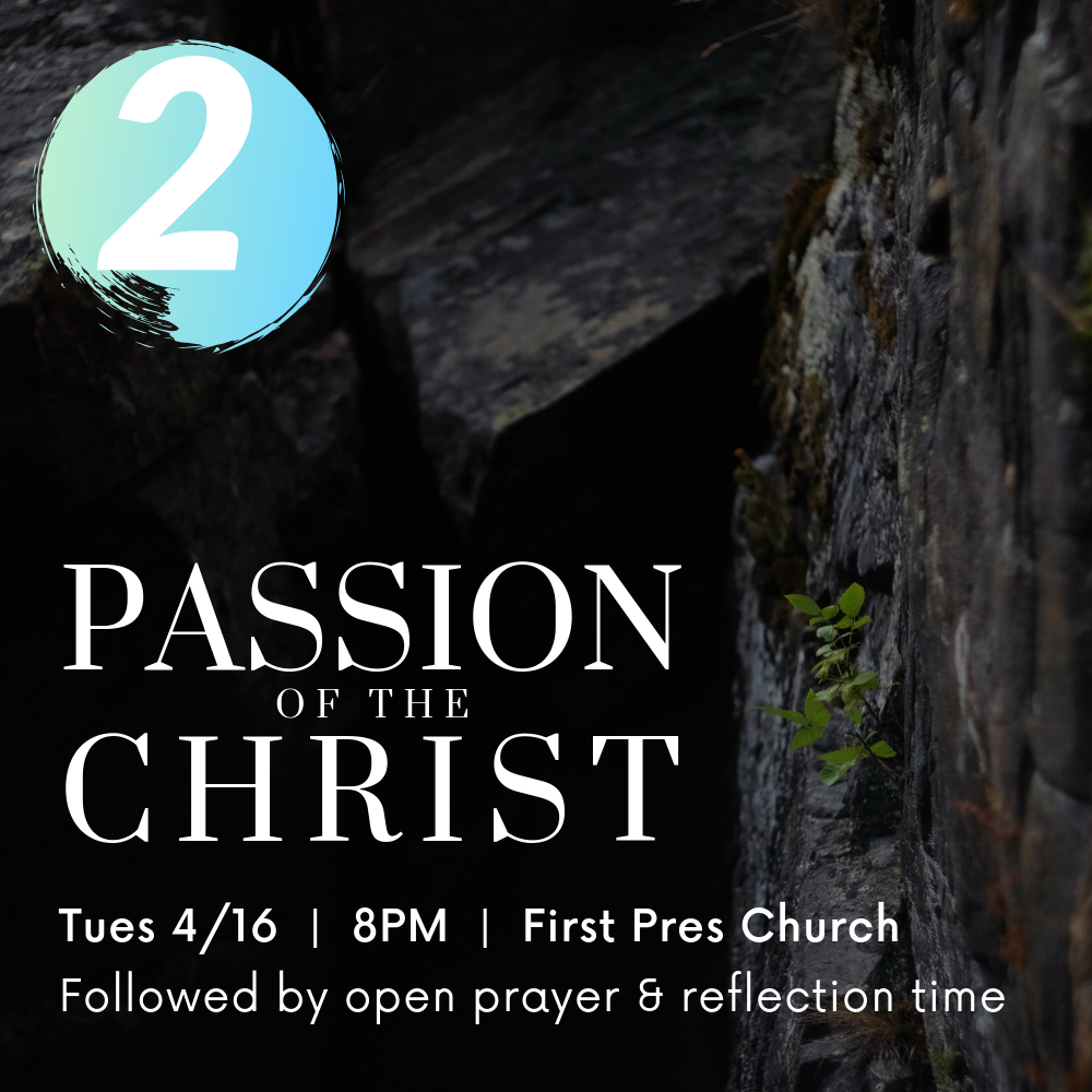 Tues 4/16 @ 8PM|First Pres Church - 2. Watch the Passion of the ChristReflect on the meaning of the cross and the lives of the characters surrounding the events leading up to Jesus' death.