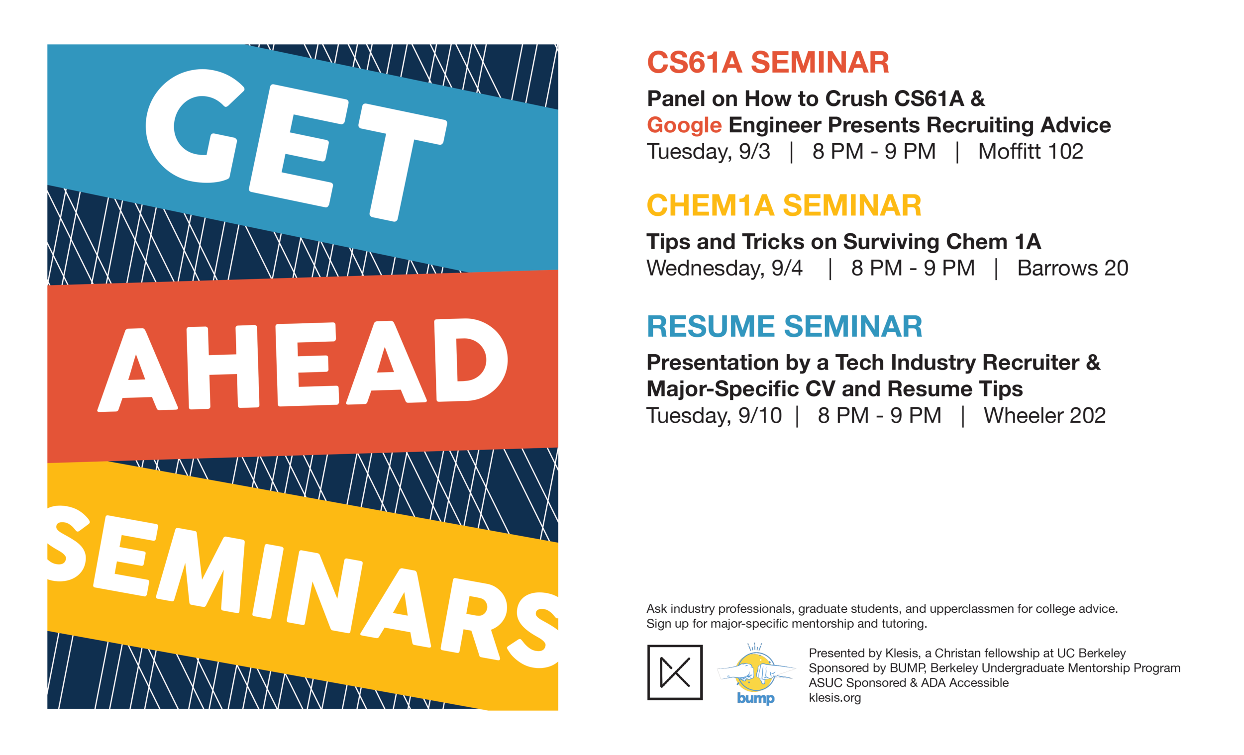 get ahead seminar klesis uc berkeley campus event open to all students and incoming freshman