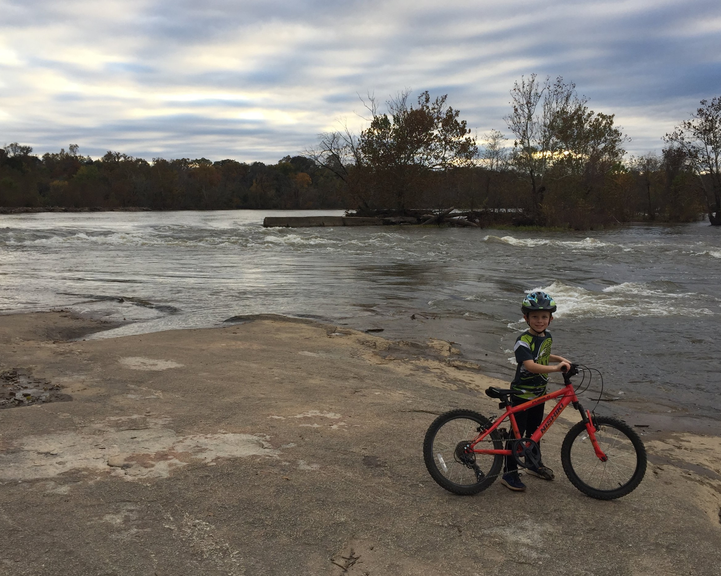 Adam's son at Belle Isle during a ride.