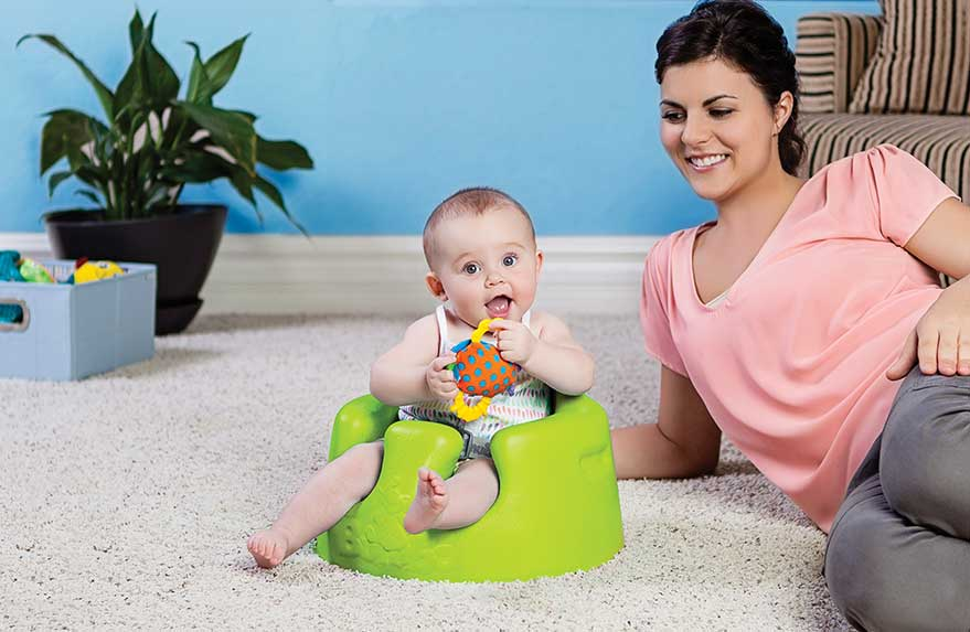 Bumbo Floor Seat - We began using our Bumbo as soon as our baby could hold her head up and eat baby foods. It was very helpful for us when she first started eating but was still too small for her high chair.