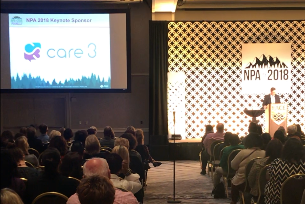 Shawn Bloom announced Care3 as Keynote Sponsor at 2018 NPA Annual Conference.