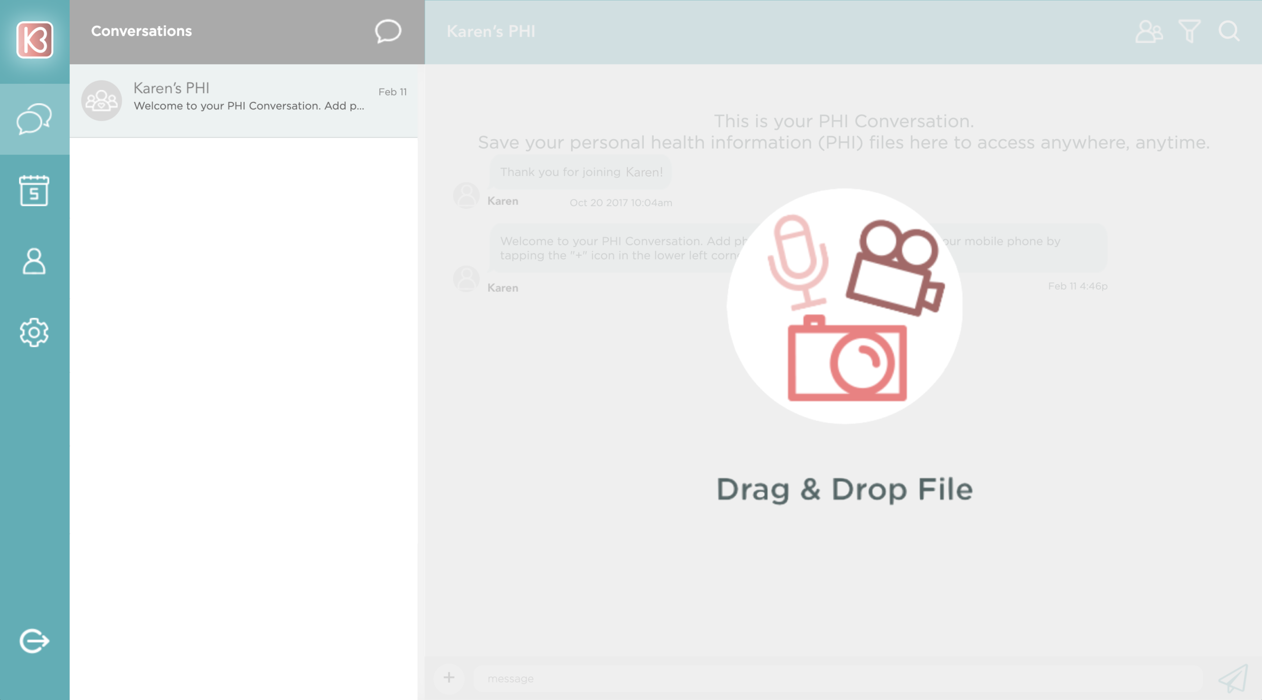 Drag and drop personal health information files into your digital binder.