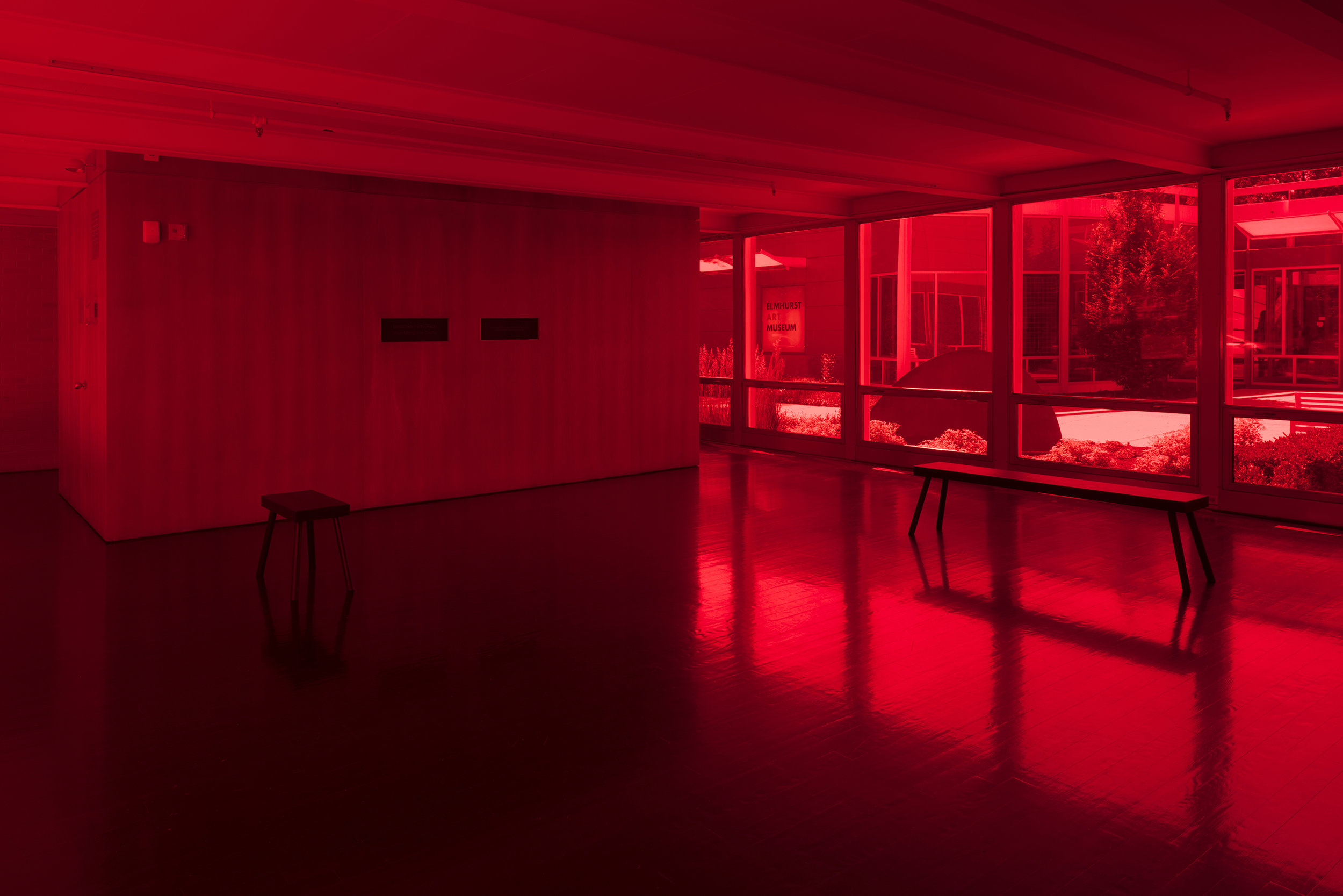 Iñigo Manglano-Ovalle,  Untitled Film (Red) , installation view, Elmhurst Art Museum, Elmhurst, IL, 2018. Photography by James Prinz
