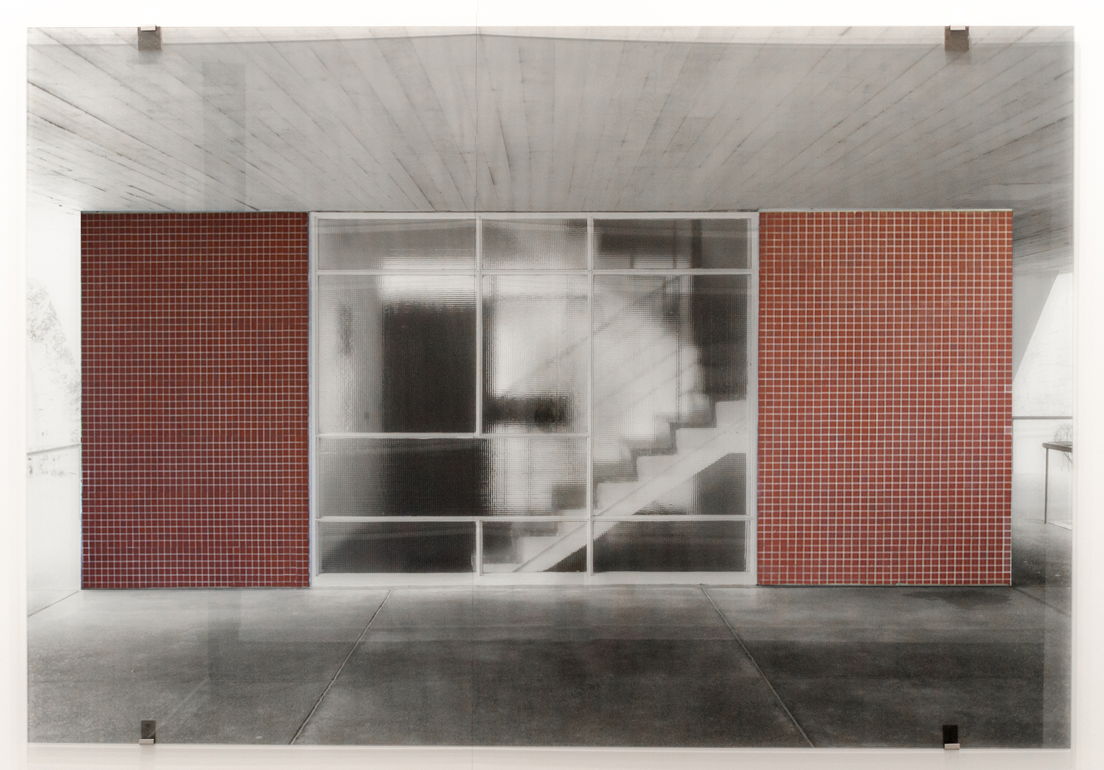 Niemeyer with red tiles , 2017 single panel silkscreen print on glass 59 x 85-7/8 inches 150 x 218 cm Edition of 3