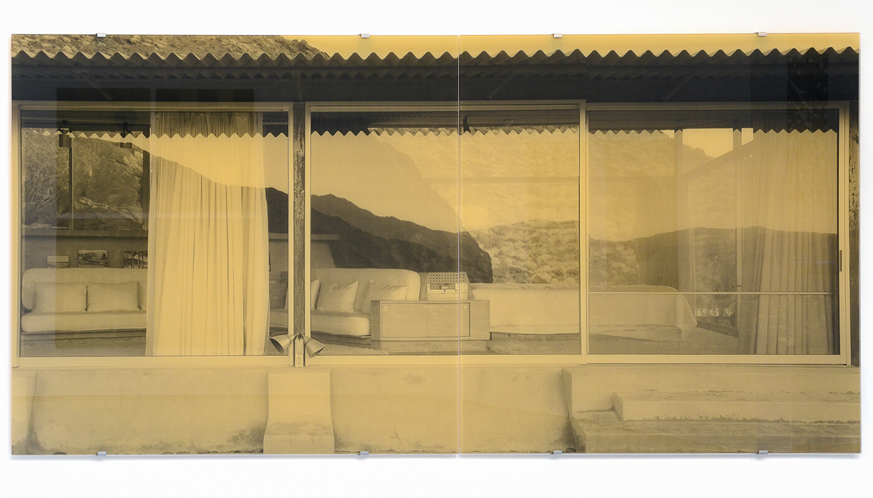 Mountain Crest Echo , 2017 2-panel silkscreen print on glass overall dimensions: 59 x 122-7/8 inches, 150 x 312 cm Edition of 5