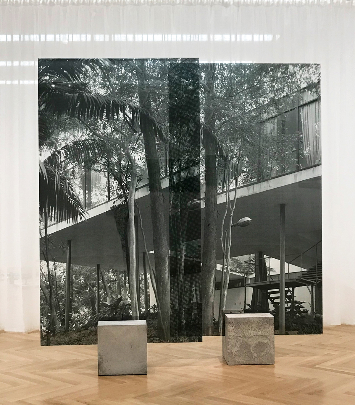 Stilted House , 2017 2-panel silkscreen print on glass each panel: 94-1/2 x 53-1/8 inches, 240 x 135 cm Edition of 5