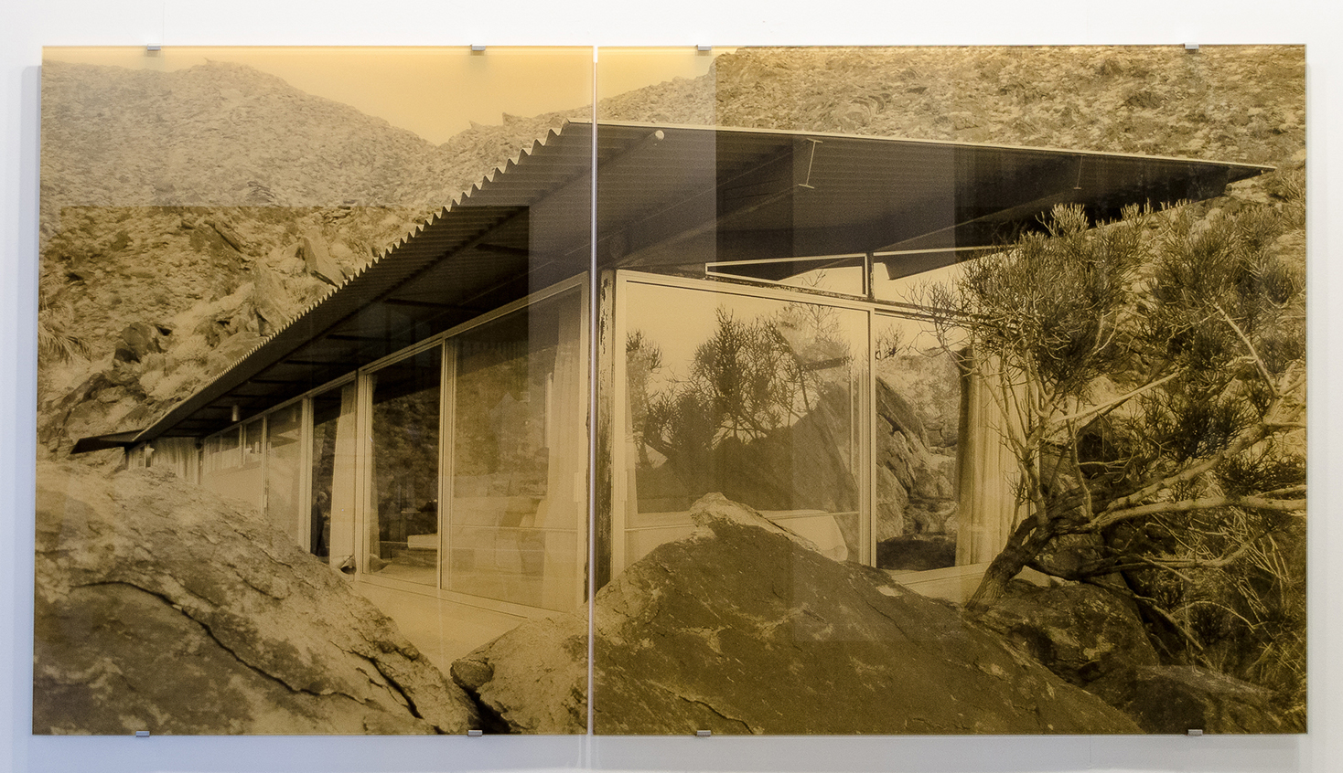 Frey House – view from the corner , 2018 2-panel silkscreen print on glass overall dimensions: 59 x 112-1/4 inches, 150 x 285 cm Edition of 5