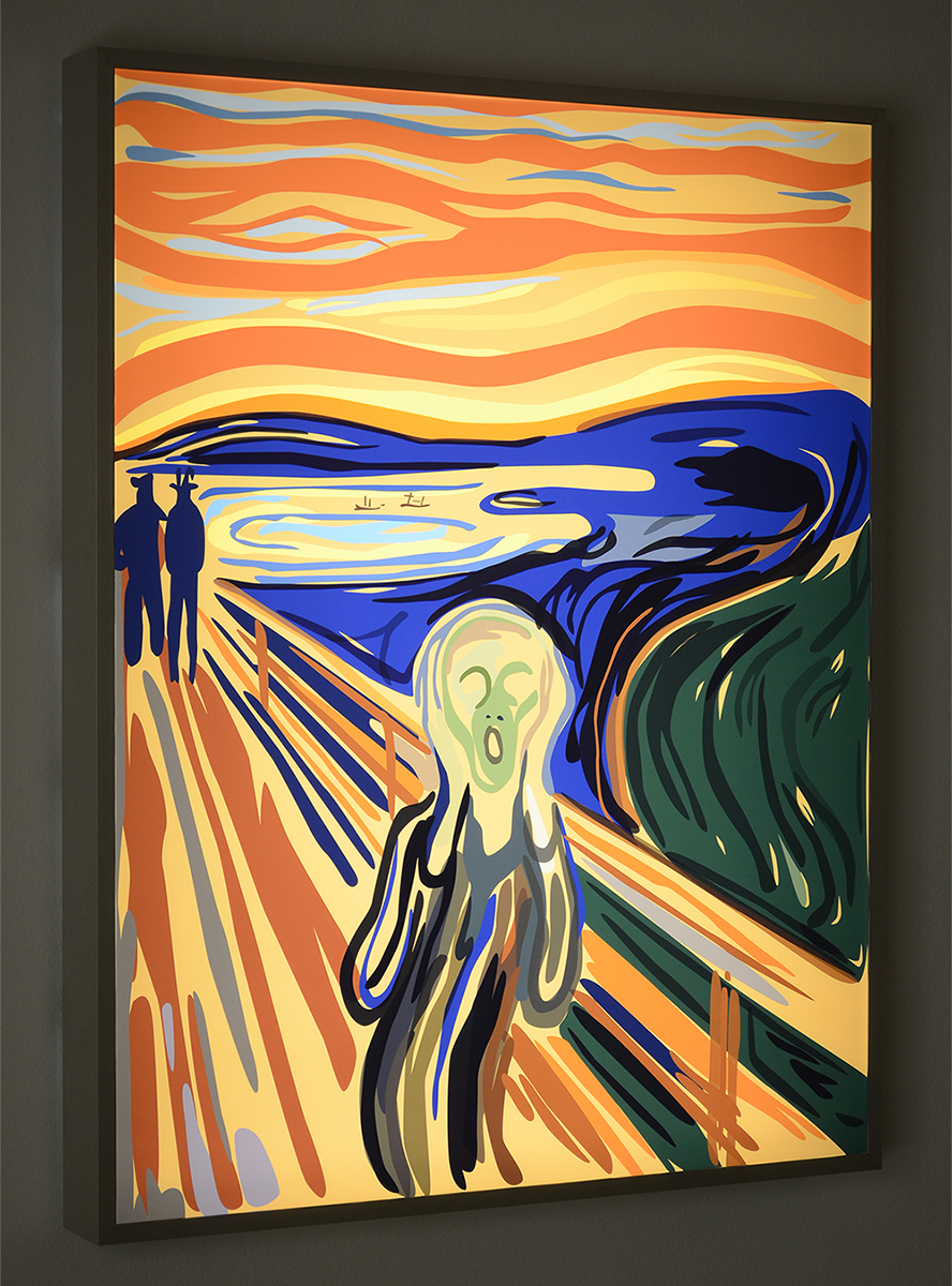 The Scream , 2016 duratrans transparency and LED lightbox 33 x 26 x 2-3/4 inches 83.8 x 66 x 7 cm Edition of 5, with 2 AP