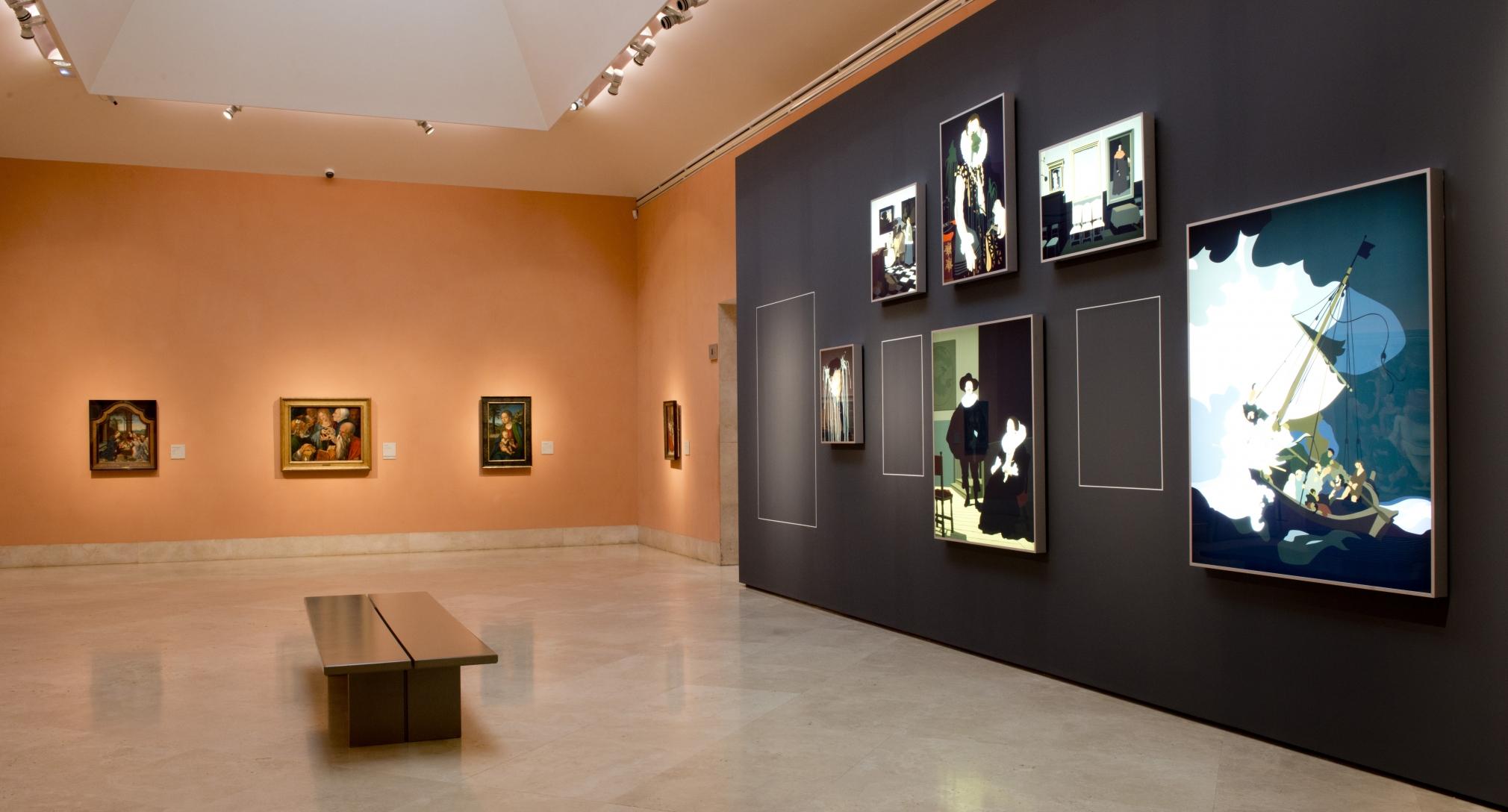 Kota Ezawa, installation view, Art Lesson , Thyssen Bornemisza Museum, Madrid, Spain, 2017