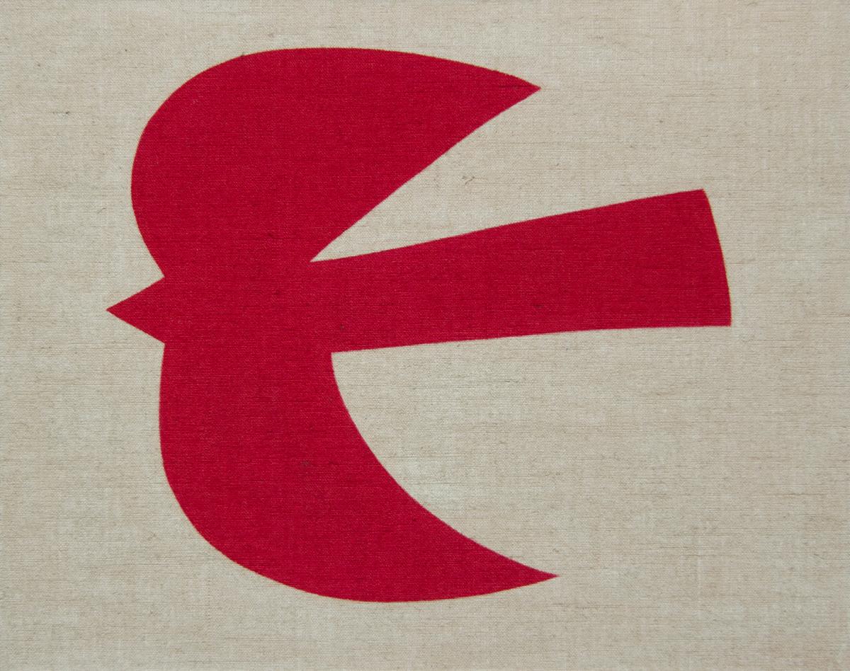 Red Bird #2 , 2017 acrylic on jute 28-3/4 x 36-1/4 inches, 73 x 92 cm ABM093
