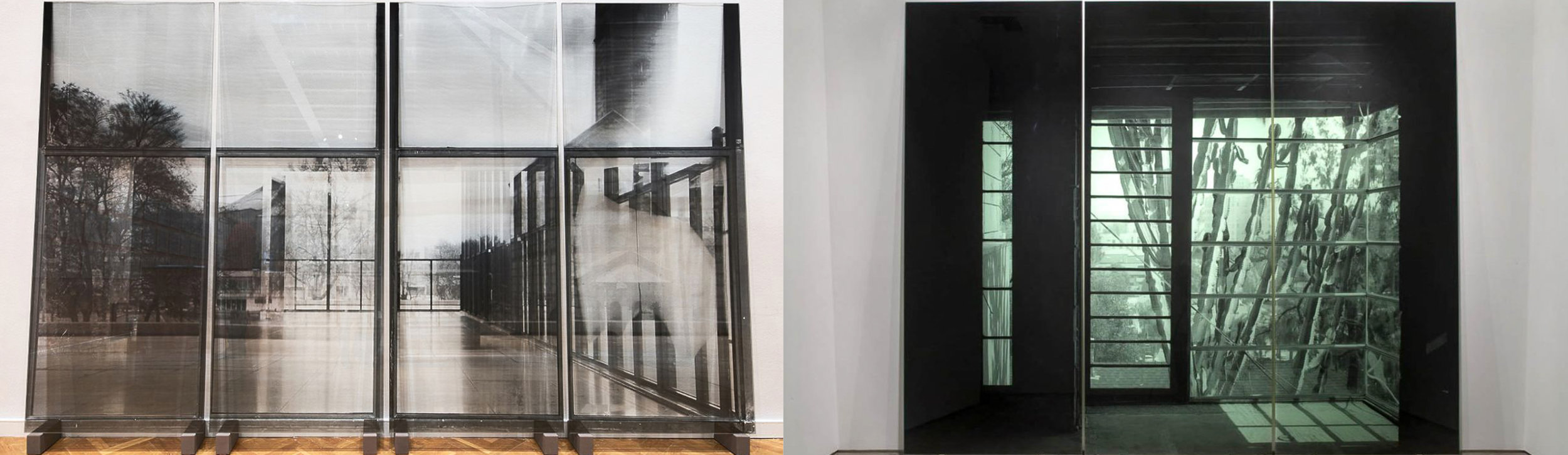 National Gallery, Shortly Before Renovation, 2017, 230 x 380 cm overall (4-panels), transparent silkscreen print on glass, edition of 3 (left), Succulent Screen, 2007 288 x 351.5 cm (overall, 3-panels), silk-screen print on glass, edition of 3 (right)