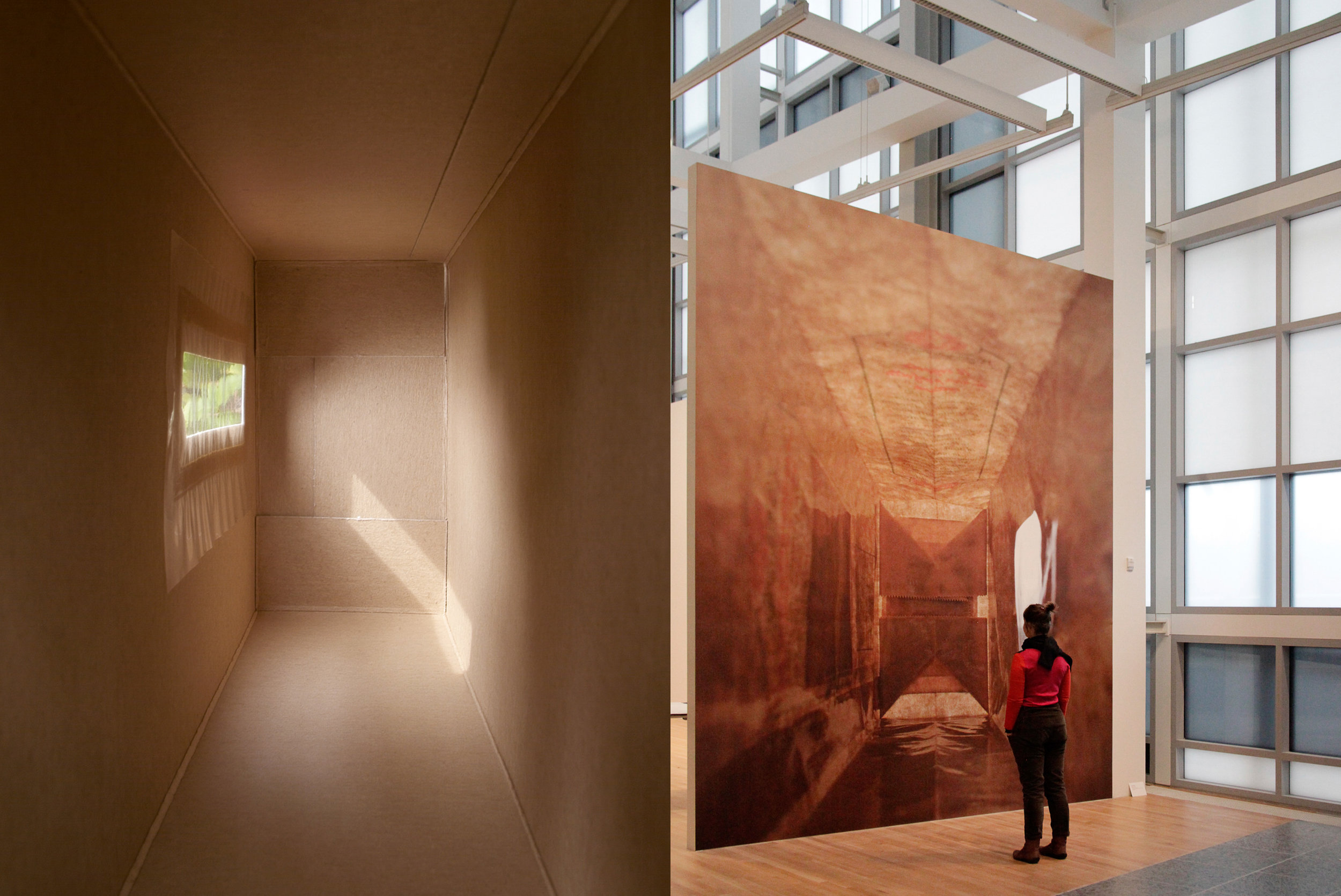 Spaghetti (Siena), 2004,  313.5 x 151 cm, 123-3/8 x 59-1/2 inches, pigment print on cotton paper, UV matte laminate, edition of 6 (left), Installation view,  Rusticchella,  2013,   Wexner Center for the Arts, Columbus, OH, 2014 180 x 144 inches; 457 x 366 cm (overall, 3-horizontal panels) 60 x 144 inches; 152.5 x 366 cm (each panel), pigment print on cotton paper, UV matte laminate, edition of 6 (right)