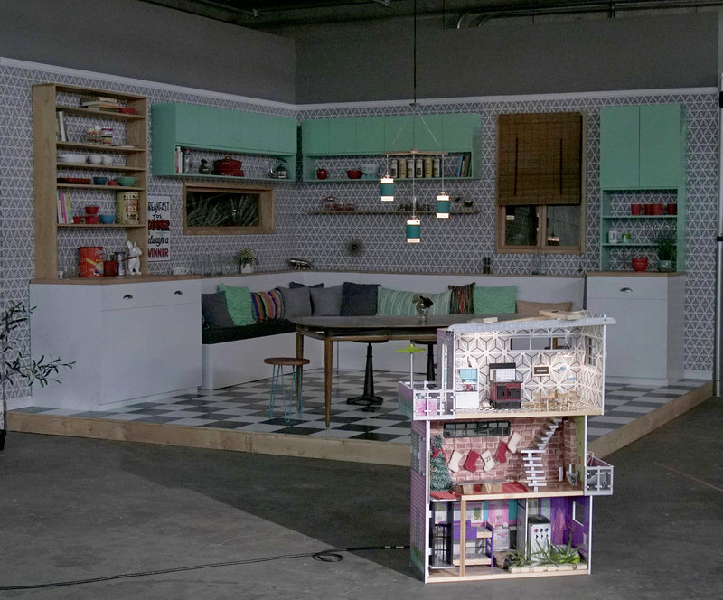 Tiny Kitchen  films all of its videos inside this dollhouse, inside a larger soundstage.
