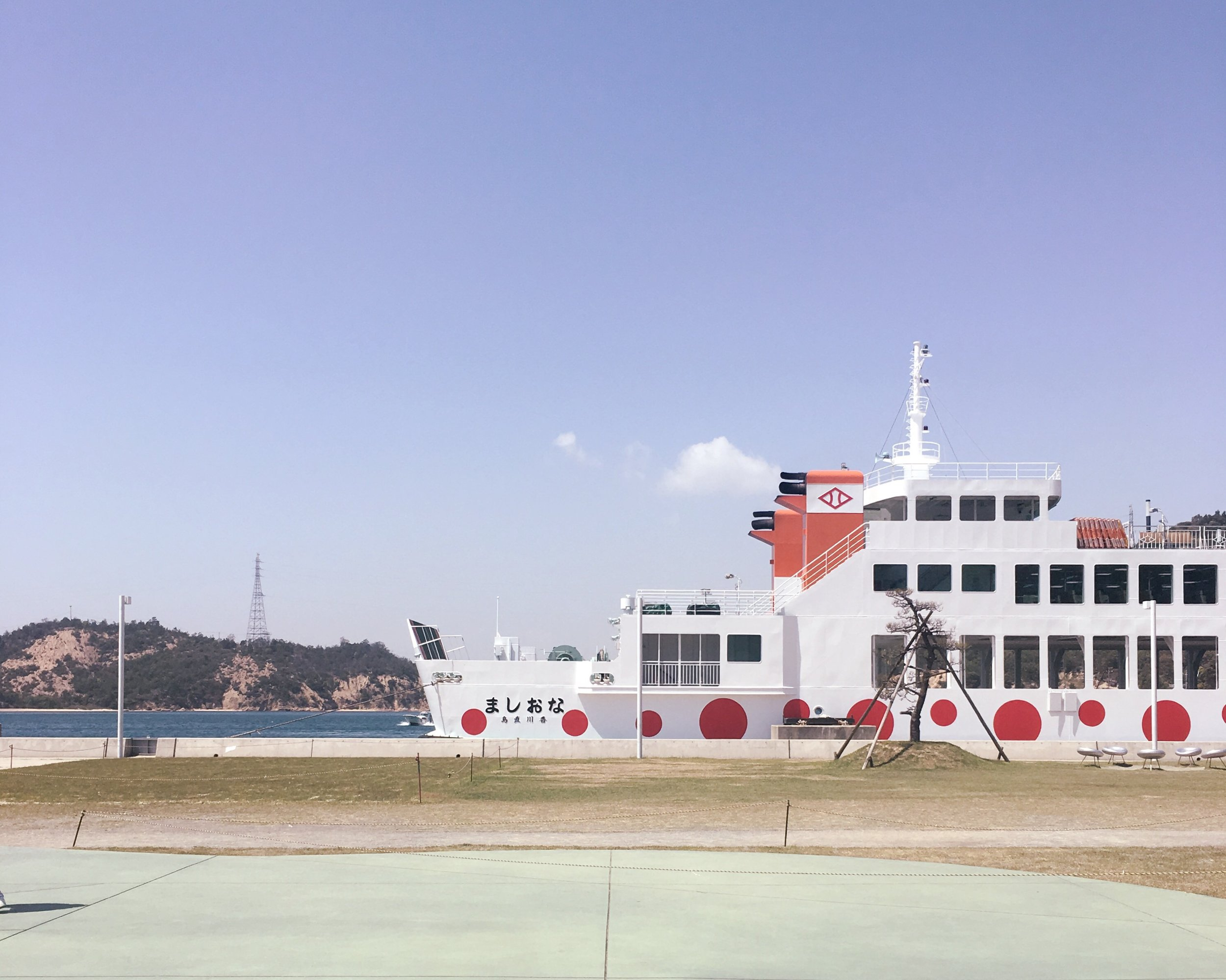 Yayoi Kusama-inspired ferry to Naoshima Island.