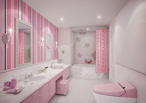 That tub! Also, while I'll never have a Hello Kitty bathroom, I DO plan on buying a pink toilet when I finally own a house.