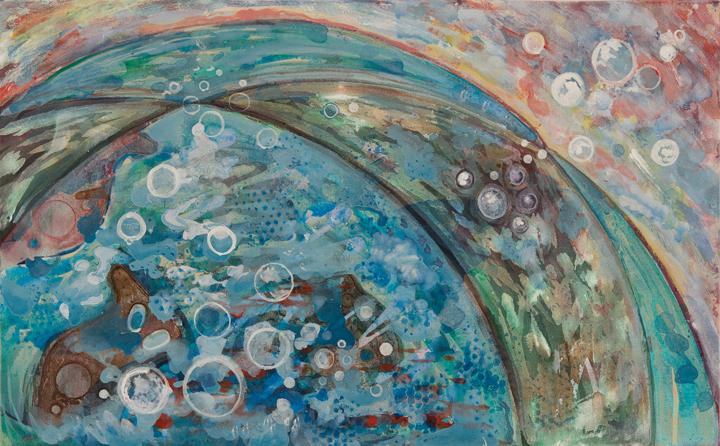 "Flying Fish Catalina   Acrylic on Canvas  20"" x 32"""
