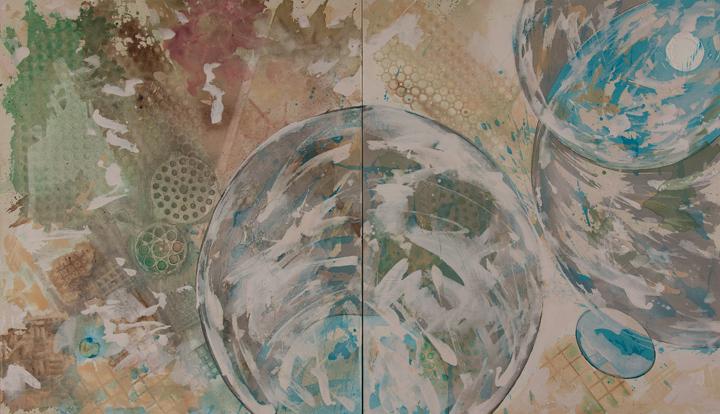 "Cloudy Cosmic  A crylic on Canvas  Each panel 36"" x 42"""