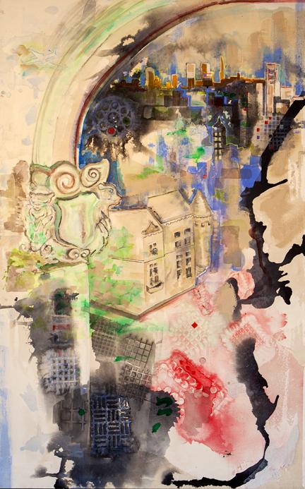 "Guardian Gargoyles   Acrylic on Canvas  40"" x 60"""