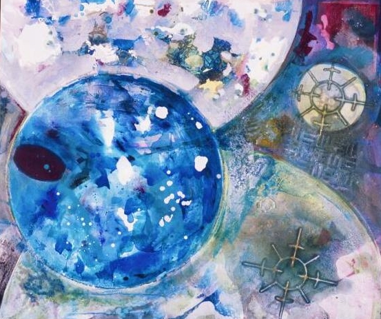 "Blue Moon  A crylic on Canvas on Panel  36"" x 48"""