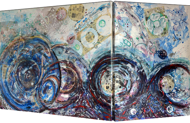 """Primordial Pulse   Acrylic on Stretched Canvas Diptych  48"""" x 60"""" and 48"""" x 36"""""""