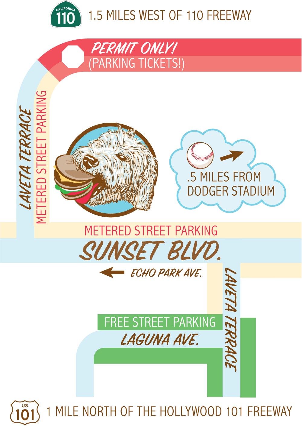 Illustrated map showing the location of Monty's Echo Park location on Sunset Blvd and Laveta Terrace 11 mile north of the Hollywood 101 freeway and approximately 0.5 miles from Dodger Stadium. Free street parking on Laguna Ave and Laveta Terrace. Metered street parking on Sunset Blvd and Laveta Terrace. Permit only parking (parking tickets) on the north part of Laveta Terrrace.